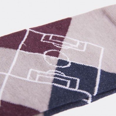 Носки с футбольным принтом Argyle Pitch серые