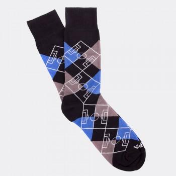 Носки с футбольным принтом Argyle Pitch черно-синие