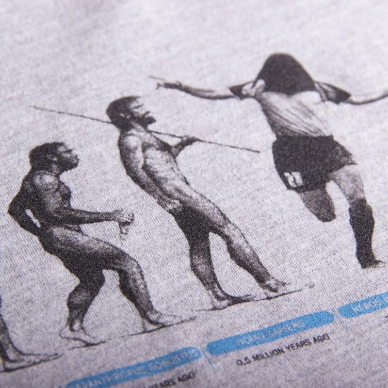 Футболка с принтом Human Evolution меланж серая