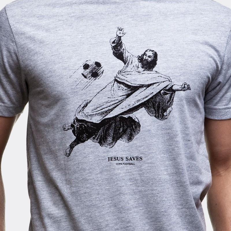 Футболка с принтом Jesus Saves меланж серая