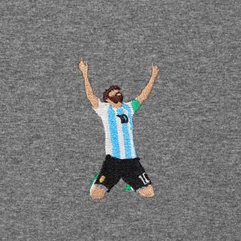 Футболка с вышивкой Lionel Messi темно-серый меланж
