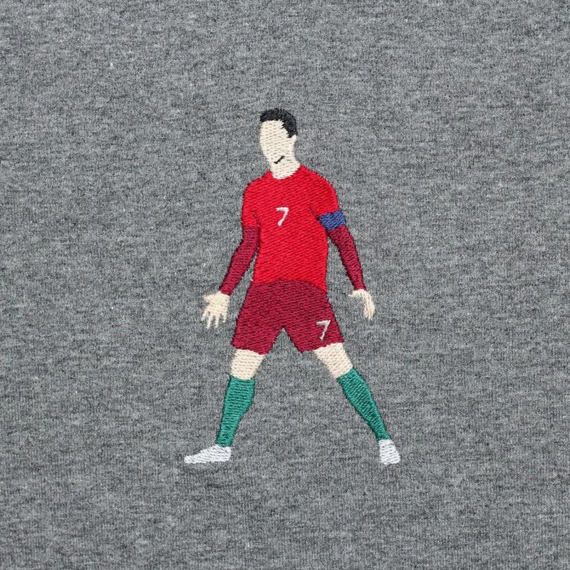 Футболка с вышивкой Cristiano Ronaldo темно-серый меланж