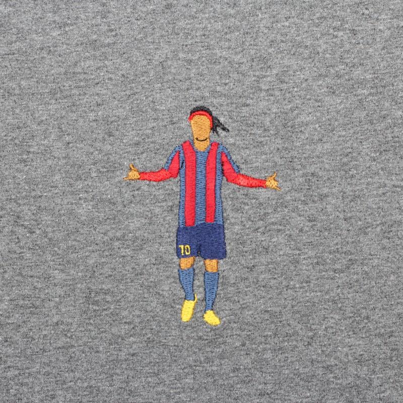 Футболка с вышивкой Ronaldinho | Barcelona темно-серый меланж