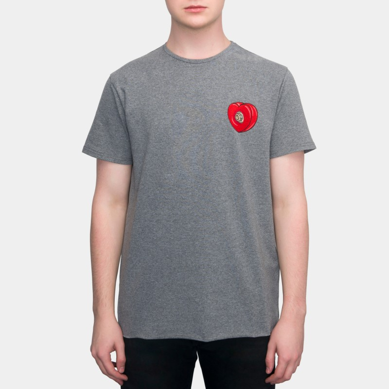Футболка с вышивкой Skateboard Heart   sk8b темно-серый меланж