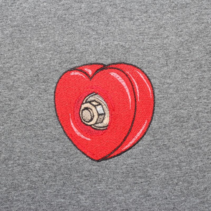 Футболка с вышивкой Skateboard Heart | sk8b темно-серый меланж