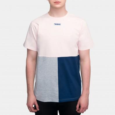 Футболка Tricolor block - Pale pink / Grey / Blue