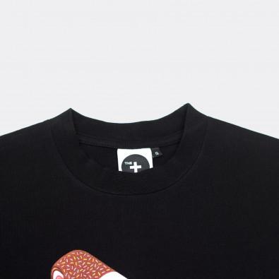 Футболка свободного кроя с принтом Ice Cream Flip черная