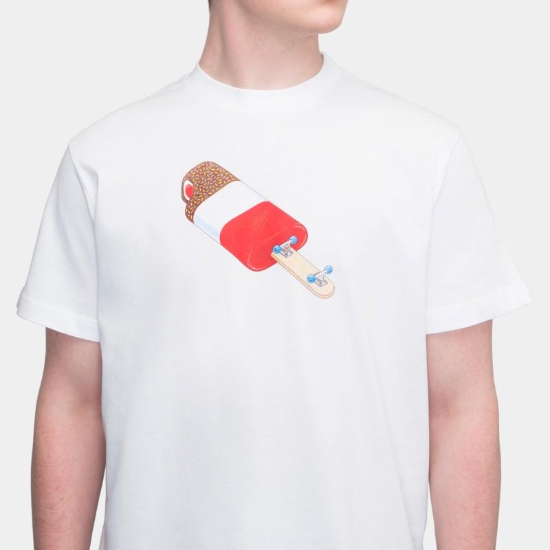 Футболка свободного кроя с принтом Ice Cream Flip белая