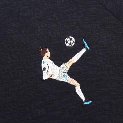 Футболка с вышивкой Bale   Real Madrid темно-синий меланж