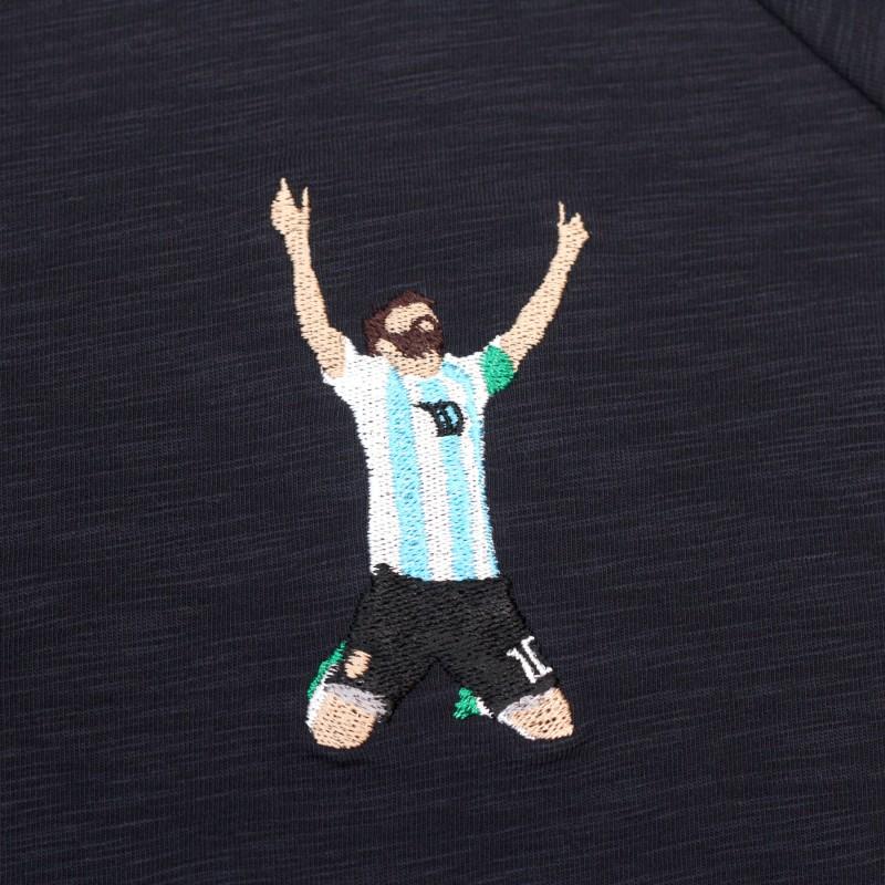 Футболка с вышивкой Messi | Argentina темно-синий меланж
