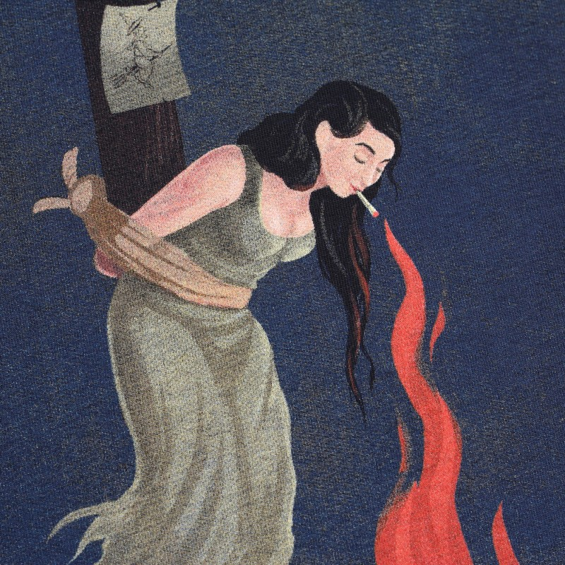 Футболка свободного кроя с принтом Witch on fire черная