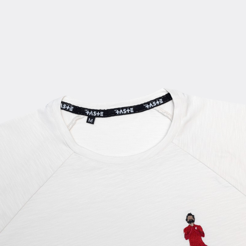 Футболка с вышивкой Salah | Liverpool белый меланж