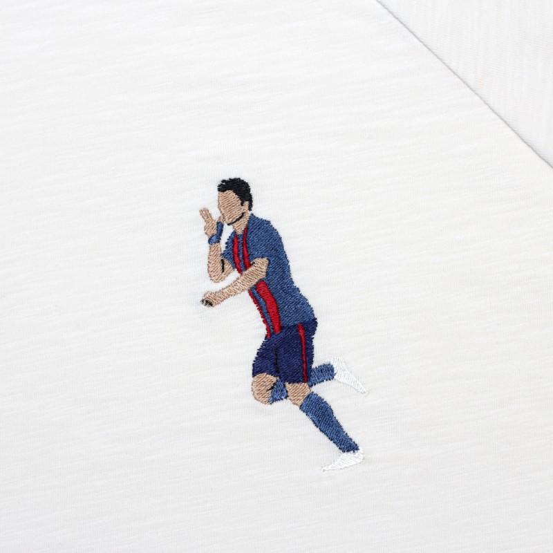 Футболка с вышивкой Suarez | Barcelona белый меланж