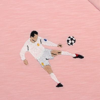 Футболка с вышивкой Zidane   Real Madrid розовый меланж