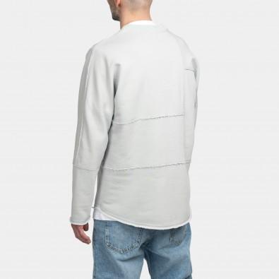 Свитшот свободного асимметричного кроя Lines gray-blue