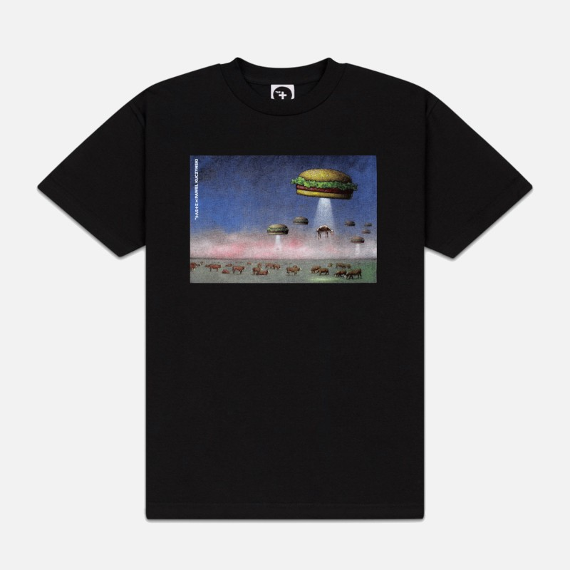 Футболка свободного кроя с принтом UFO Abduction черная