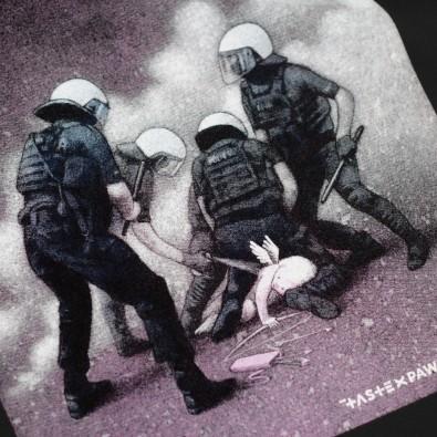 Футболка свободного кроя с принтом Police Hug черная