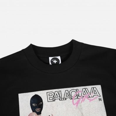 Футболка свободного кроя с принтом Balaclava Girl - Party черная