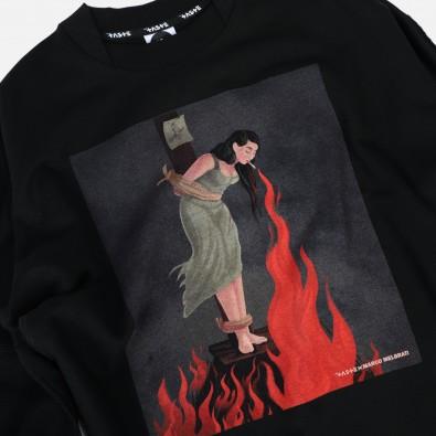 Свитшот свободного кроя Fusion с принтом Witch on fire black