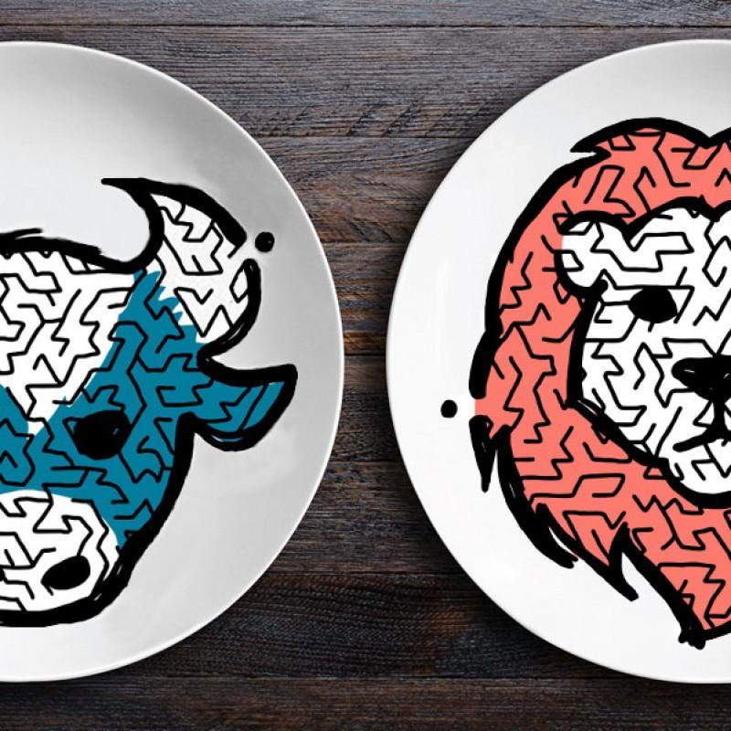 Набор тарелок ZooLab с рисунком (Бык|Лев)