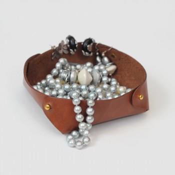 Кожаный лоток для мелочей Clover (коричневый)