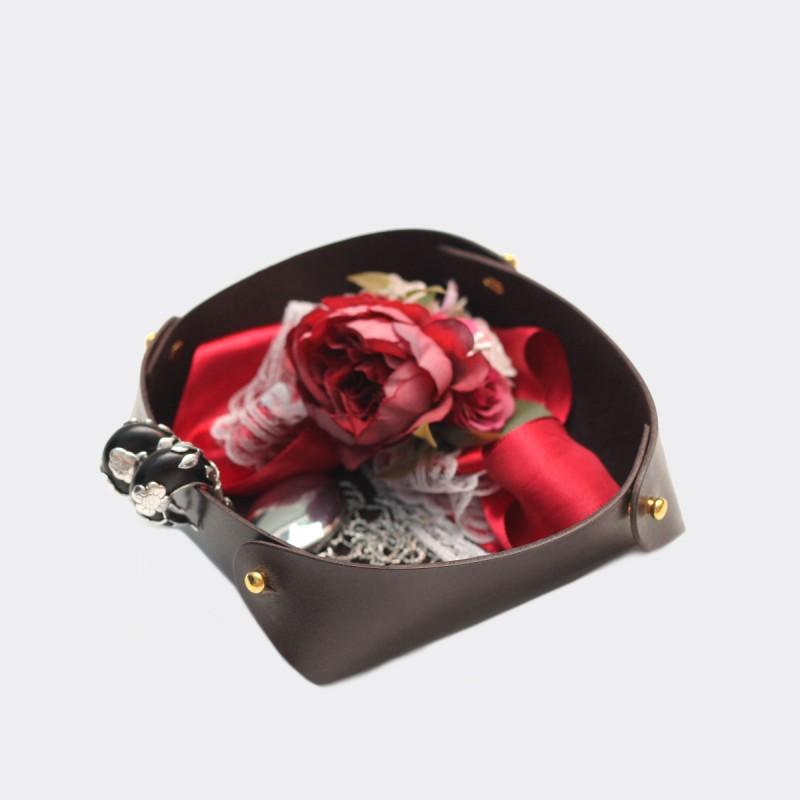 Кожаный лоток для мелочей Clover (брауни)