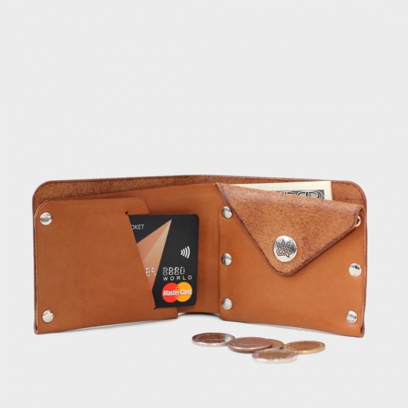 Кожаный кошелек с отделением для монет Monas (медовый)