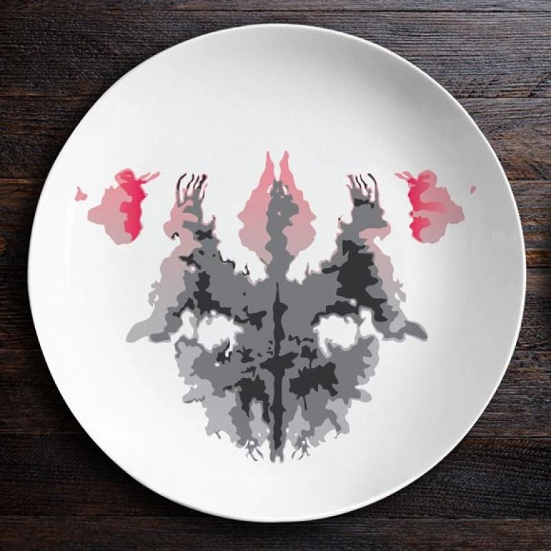 Набор тарелок с пятнами Роршаха (Гаргульи|Мотылек)
