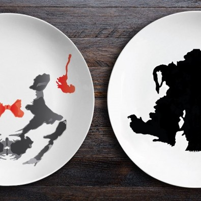 Набор тарелок с пятнами Роршаха (Близнецы|Байкер)