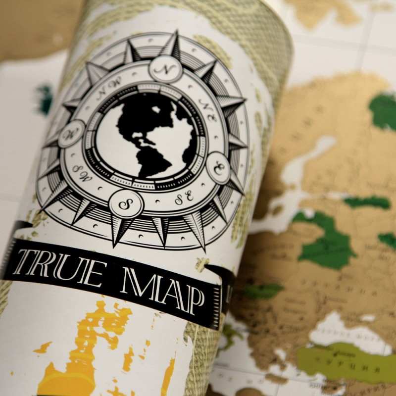 Карта мира со скретч слоем True Map