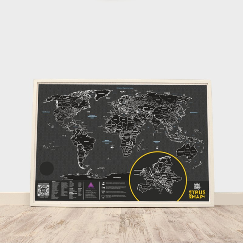 Скретч карта мира True Map Plus Noir